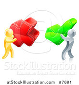 Vector Illustration of 3d Right and Wrong Gold and Silver Men Carrying X and Check Marks by AtStockIllustration
