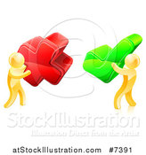 Vector Illustration of 3d Right and Wrong Gold Men Carrying X and Check Marks by AtStockIllustration