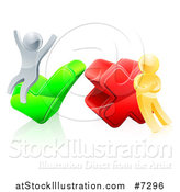 Vector Illustration of 3d Right and Wrong Silver and Gold Men Carrying and Cheering on X and Check Marks by AtStockIllustration