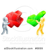 Vector Illustration of 3d Right and Wrong Silver and Gold Men Carrying X and Check Marks by AtStockIllustration