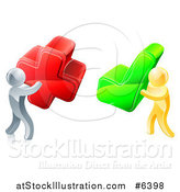 Vector Illustration of 3d Right and Wrong Silver and Gold Men with X and Check Marks by AtStockIllustration