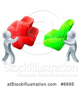 Vector Illustration of 3d Right and Wrong Silver Men Carrying X and Check Marks by AtStockIllustration