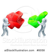 Vector Illustration of 3d Right and Wrong Silver Men with X and Check Marks by AtStockIllustration