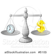 Vector Illustration of 3d Scales Balancing Time and Money As a Dollar Symbol by AtStockIllustration