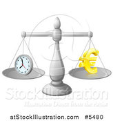 Vector Illustration of 3d Scales Balancing Time and Money As a Euro Symbol by AtStockIllustration
