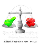 Vector Illustration of 3d Scales Weighing a Decision Check Mark and X Cross by AtStockIllustration