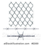 Vector Illustration of 3d Seamless Chainlink Fence and Barbed Wire Elements by AtStockIllustration