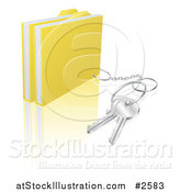 Vector Illustration of 3d Secure Files with a Key Ring by AtStockIllustration