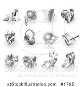 Vector Illustration of 3d Shiny Metal Navigation, Audio, News, Alarm Clock, Calendar, Security, Checklist, Gear, Megaphone, Solutions and Mail App Icons by AtStockIllustration