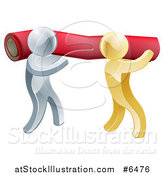 Vector Illustration of 3d Silver and Gold Carpet Installers Carrying a Red Roll by AtStockIllustration