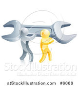 Vector Illustration of 3d Silver and Gold Men Carrying a Giant Adjustable Wrench by AtStockIllustration