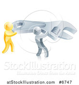 Vector Illustration of 3d Silver and Gold Men Working Together and Carrying a Large Adjustable Wrench by AtStockIllustration