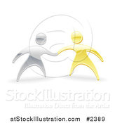 Vector Illustration of 3d Silver and Gold People Shaking or Holding Hands by AtStockIllustration
