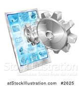 Vector Illustration of 3d Silver Gears and a Touch Screen Cell Phone by AtStockIllustration