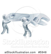 Vector Illustration of 3d Silver Men Carrying a Giant Adjustable Wrench by AtStockIllustration
