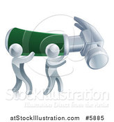 Vector Illustration of 3d Silver Men Carrying a Giant Hammer by AtStockIllustration