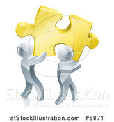 Vector Illustration of 3d Silver Men Carrying a Golden Puzzle Piece by AtStockIllustration