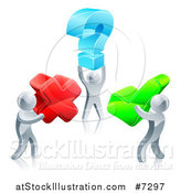 Vector Illustration of 3d Silver Men Carrying Question, X and Check Marks by AtStockIllustration