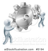Vector Illustration of 3d Silver Men Connecting Two Giant Gear Cogs by AtStockIllustration