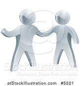 Vector Illustration of 3d Silver Men Shaking Hands and One Presenting by AtStockIllustration