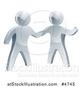 Vector Illustration of 3d Silver Men Shaking Hands by AtStockIllustration