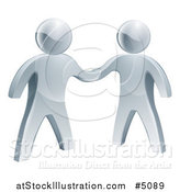 Vector Illustration of 3d Silver Men Shaking Hands on an Agreement by AtStockIllustration