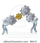 Vector Illustration of 3d Silver Men Working As a Team with Gear Cogs by AtStockIllustration