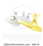 Vector Illustration of 3d Silver People Racing Against a Gold Man on Arrows by AtStockIllustration