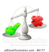 Vector Illustration of 3d Silver Scales Balancing a Check Mark and X Cross by AtStockIllustration