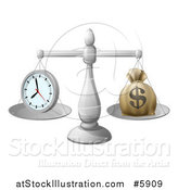 Vector Illustration of 3d Silver Scales Balancing a Clock and Money Bag by AtStockIllustration