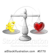 Vector Illustration of 3d Silver Scales Balancing Euros and Love by AtStockIllustration