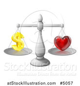 Vector Illustration of 3d Silver Scales Balancing Finances and Love by AtStockIllustration