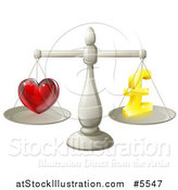 Vector Illustration of 3d Silver Scales Balancing Pound Sterling Finances and Love by AtStockIllustration
