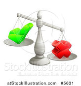 Vector Illustration of 3d Silver Scales Weighing a Decision Check Mark and X Cross by AtStockIllustration