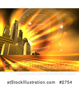 Vector Illustration of 3d Skyscrapers in an Urban City Block Against Orange Rays and Flares by AtStockIllustration
