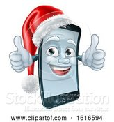 Vector Illustration of 3d Smart Cell Phone Character Wearing a Santa Hat and Holding Two Thumbs up by AtStockIllustration