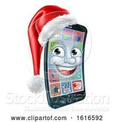 Vector Illustration of 3d Smart Cell Phone Character Wearing a Santa Hat by AtStockIllustration