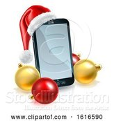 Vector Illustration of 3d Smart Cell Phone with a Santa Hat and Christmas Baubles by AtStockIllustration