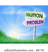 Vector Illustration of 3d Solution and Problem Arrow Signs over a Sunrise on a Grassy Hill by AtStockIllustration