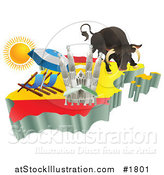 Vector Illustration of 3d Spanish Tourist Attractions over a Flag Map of Spain by AtStockIllustration