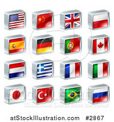 Vector Illustration of 3d Square Flag Icons with Chrome Edges by AtStockIllustration