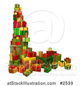 Vector Illustration of 3d Stacked Holiday Gifts by AtStockIllustration