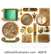 Vector Illustration of 3d Steampunk Styled Handles Knobs Screens and Switches by AtStockIllustration