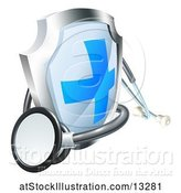 Vector Illustration of 3d Stethoscope and a Medical Shield by AtStockIllustration