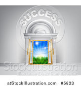Vector Illustration of 3d SUCCESS over Open Doors with Light and a Field by AtStockIllustration