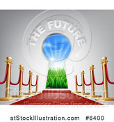 Vector Illustration of 3d the Future Text over a Keyhole Door, Posts and Red Carpet by AtStockIllustration