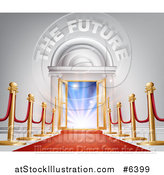 Vector Illustration of 3d the Future Text over Open Doors, Posts and Red Carpet by AtStockIllustration