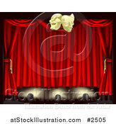 Vector Illustration of 3d Theater Stage Curtains Lighting and Masks by AtStockIllustration