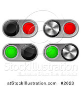 Vector Illustration of 3d Toggle Switches with Chrome Bases by AtStockIllustration