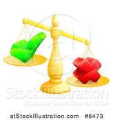 Vector Illustration of 3d Unbalanced Gold Scales Weighing a Check Mark and X Cross by AtStockIllustration